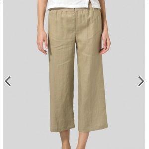 Vivid Natural Linen straight leg cropped pants